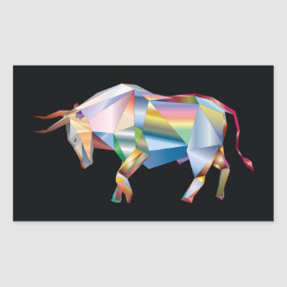 Sticker Rectangulaire Prisme d'arc-en-ciel de Taureau de Taureau