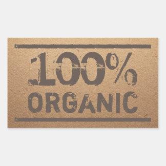 Sticker Rectangulaire Produit local frais organique de 100%