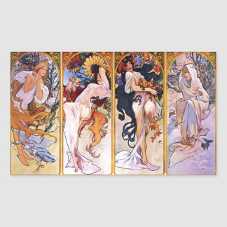 Sticker Rectangulaire Quatre saisons par Alphonse Mucha 1895