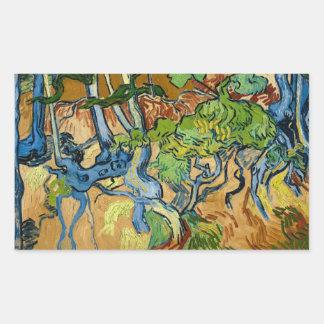 Sticker Rectangulaire Racines d'arbre par Vincent van Gogh (juillet