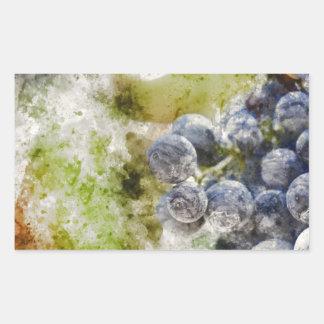 Sticker Rectangulaire Raisins de vin rouge dans le vignoble