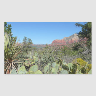 Sticker Rectangulaire Roches et cactus rouges I