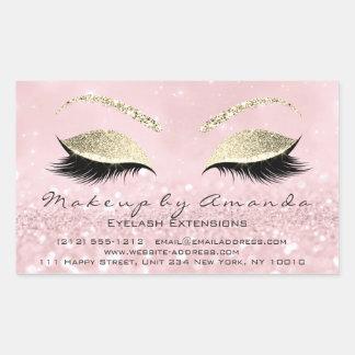 Sticker Rectangulaire Rose Gold1 de salon de beauté de maquillage