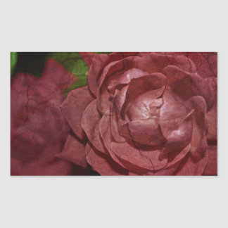 Sticker Rectangulaire Rose rouge criqué par Shirley Taylor