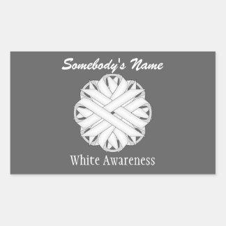 Sticker Rectangulaire Ruban de fleur blanche