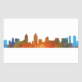 Sticker Rectangulaire San Diego Californie Ville Skyline Watercolor v01