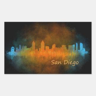 Sticker Rectangulaire San Diego Californie Ville Skyline Watercolor v04