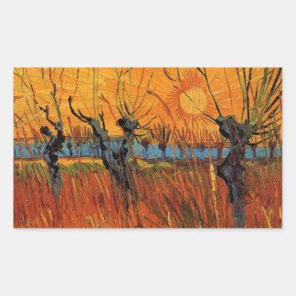 Sticker Rectangulaire Saules de Van Gogh au coucher du soleil,