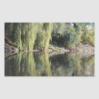 Sticker Rectangulaire Saules reflétés en rivière