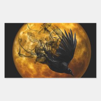 Sticker Rectangulaire Scène effrayante 13 Raven de Halloween en vol