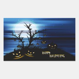 """Sticker Rectangulaire Scène effrayante 6"""" de Halloween hantise heureuse"""