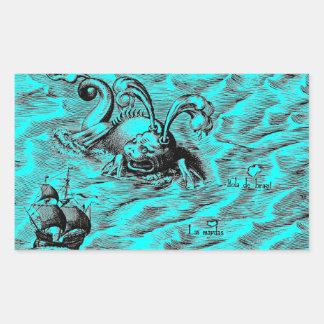 Sticker Rectangulaire Serpent de mer et bateau de navigation