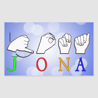 STICKER RECTANGULAIRE SIGNE NOMMÉ DE JONA ASL FINGERSPELLED