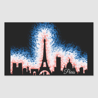 Sticker Rectangulaire Silhouette de Paris France