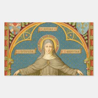 Sticker Rectangulaire St Clare d'Assisi et rouleaux des voeux (SAU 027)