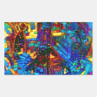 Sticker Rectangulaire Symbole de paix coloré de mosaïque
