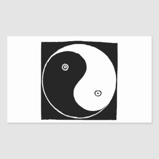 Sticker Rectangulaire Symbole de Yin Yang de Chinois