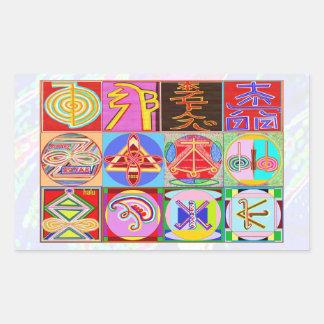 Sticker Rectangulaire Symboles de NOVINO ReikiHealing n KARUNA Reiki