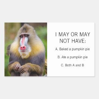 Sticker Rectangulaire Tarte de citrouille coloré drôle de photo de singe