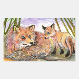 Sticker Rectangulaire Temps du petit somme de peu de Fox