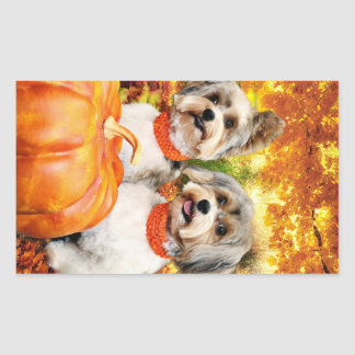 Sticker Rectangulaire Thanksgiving de chute - maximum et Lion - Yorkies