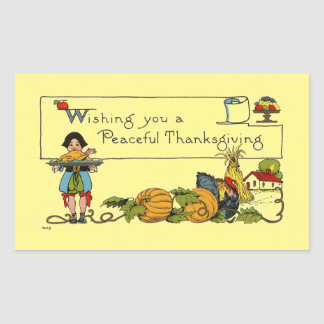 Sticker Rectangulaire Thanksgiving paisible vintage
