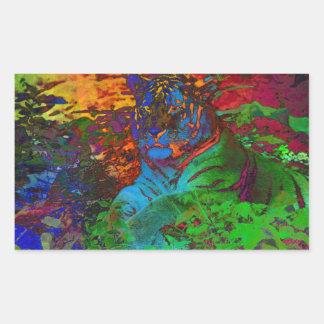 Sticker Rectangulaire Tigre d'arc-en-ciel