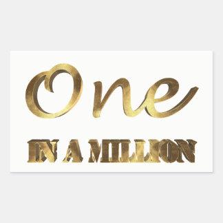 Sticker Rectangulaire Un dans million de typographie élégante de Brown