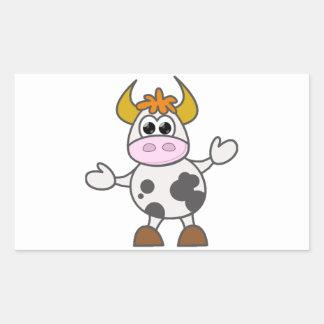 Sticker Rectangulaire Vache perplexe