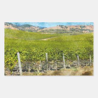 Sticker Rectangulaire Vignoble de vin de Californie
