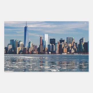 Sticker Rectangulaire Ville Manhattan de New York City d'horizon de New