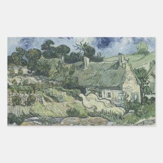 Sticker Rectangulaire Vincent van Gogh - cottages couverts de chaume