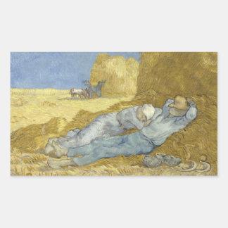 Sticker Rectangulaire Vincent van Gogh - la sièste (après millet)