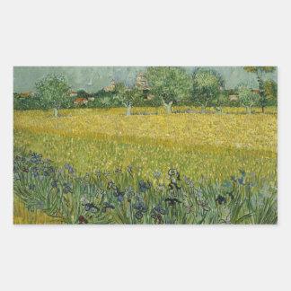 Sticker Rectangulaire Vincent van Gogh - le champ avec des fleurs