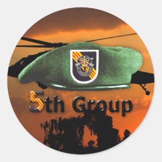 Sticker Rond 5ème Vétérans LRRP du groupe SFG SF de forces