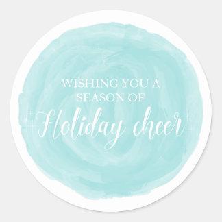 Sticker Rond Acclamation de vacances d'aquarelle de turquoise