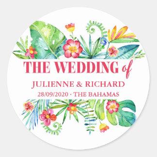 Sticker Rond Accueil tropical de mariage de destination de