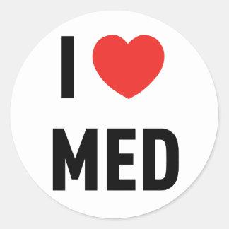 Sticker Rond Adhésif I Love Med