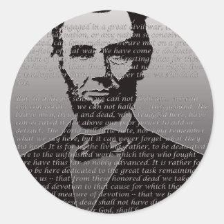 Sticker Rond Adresse d'Abe Lincoln Gettysburg