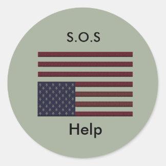 Sticker Rond Aide de S.O.S
