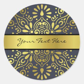 Sticker Rond Ajoutez juste votre mandala nommé de feuille d'or