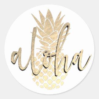 Sticker Rond aloha ananas d'or