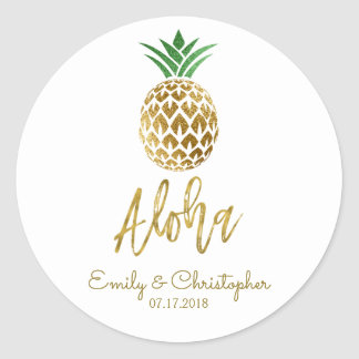 Sticker Rond Aloha ananas hawaïen tropical épousant le blanc