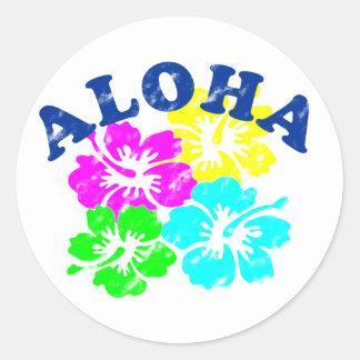 Sticker Rond Aloha Hawaïen rond classique vintage d'autocollant