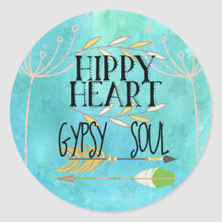 Sticker Rond Âme de gitan de coeur de hippie