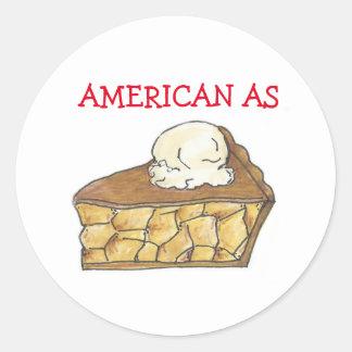 Sticker Rond Américain comme tranche de tarte aux pommes un