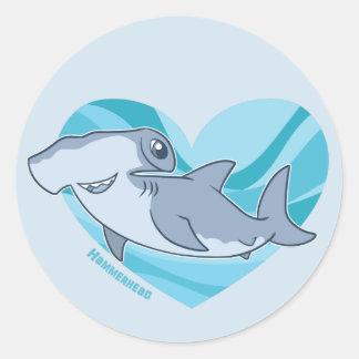 Sticker Rond Amour de poisson-marteau