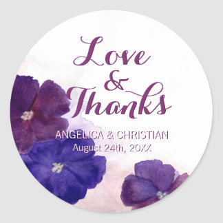 Sticker Rond Amour et mercis floraux violets de mariage de