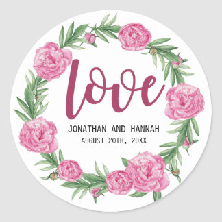 Sticker Rond Amour floral personnalisé de mariage de pivoine