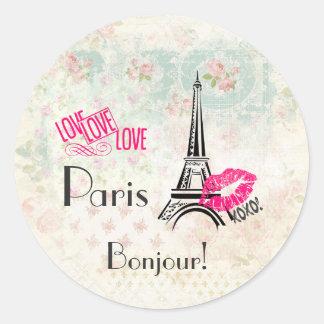 Sticker Rond Amour Paris avec Tour Eiffel sur le motif vintage